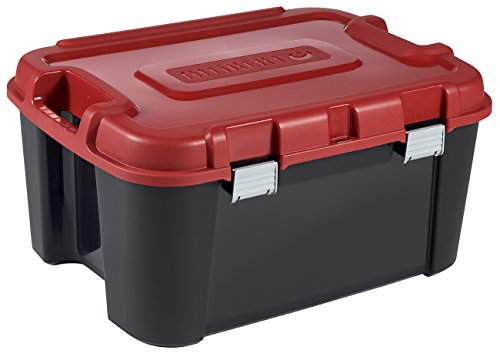 ALLIBERT 229230 Malle de Rangement Totem 140L avec 4 roulettes Plastique, Noir/Rouge, 79,7 x 59,7 x 40,8 cm
