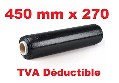 Lote de 3 rollos de film estirable para embalar de color negro, 450mm x 270metros, para palé, película preestirada para embalaje manual, color negro opaco, antirrayos UV