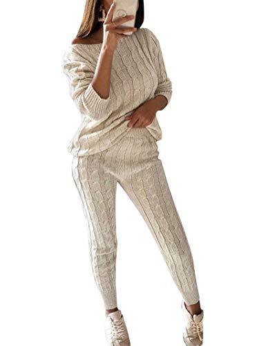 ORANDESIGNE Frauen Stricken Zweiteilige Sweatsuit U-Ausschnitt Sweatshirt Trainingsanzug Schulterfrei Oversize Pullover Top Lounge Wear Jumper Set schlanke Lange Hosen Set Weiß DE 36 - Stricken Lounge-set