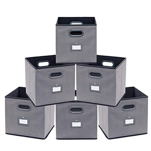Homyfort set di 6 cesto pieghevole, scatole portaoggetti, stoccaggio contenitore, scatole armadio in tessuto non tessuto, con manici e etichetta, 30 x 30 x 30 cm, grigio lino, xdb06pl