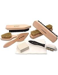 Navaris Set brosses à chaussures - Kit 8 outils d'entretien - 6x brosse 1x gomme 1x tissu de polissage - Nettoyage cuir daim suede - Bottes talons