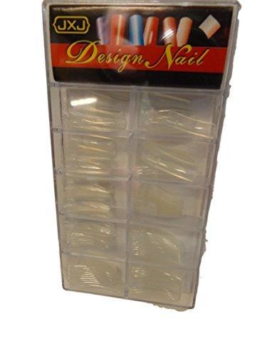 100x haute qualité Professionnel false medium longueur Transparent Embouts faux ongles perspex Boîte : 10 tailles différentes (10 de chaque taille) par Fat-catz-copie-catz - transparent embouts dans la boîte, 0-9, 0-9
