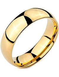 MunkiMix Ancho 6mm Acero Inoxidable Anillo Ring Banda Venda Oro Dorado Alianzas Boda Hombre,Mujer