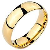 MunkiMix Ancho 6mm Acero Inoxidable Anillo Ring Banda Venda Oro Dorado Tono Alianzas Boda Talla Tamaño 17 Hombre,Mujer