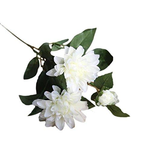 Schön Künstliche Blumen Dahlie Blumen,SuperSU Unechte Blumenstrauß 2 Sträuße Seide Gefälschte Blume Kunstblumen Für Home Garten Hotel Hochzeit Brautstrauß Blumenschmuck (Weiß)