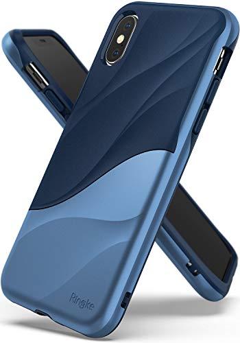 Ringke WAVE Custodia Compatibile con Apple iPhone XS, Salvaguardia Dello Strato TPU interno Morbido, Custodia Rigida per PC Pesante Assorbimento Design Fluente del Movimento Cover iPhone XS 5.8' 2018 - Coastal Blue