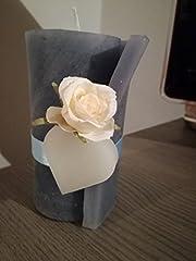 Idea Regalo - Candela - profumata - azzurra - decorata con cuore e rosa bianca