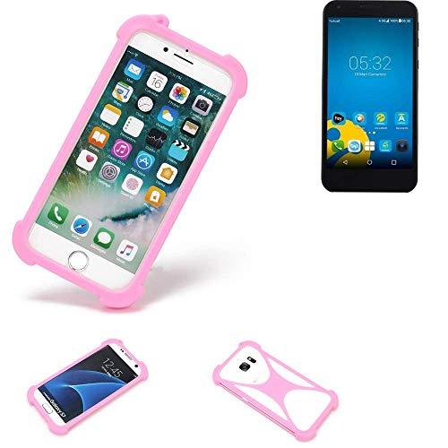 K-S-Trade® Handyhülle Für Vestel 5000 Dual-SIM Schutzhülle Bumper Silikon Schutz Hülle Cover Case Silikoncase Silikonbumper TPU Softcase Smartphone, Pink (1x)