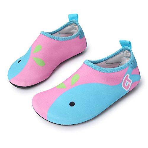 L-RUN Mädchen / Jungen Leichtwasserschuhe Weiche Barefoot Schuhe Rosa 2,5-3 = EU18-19