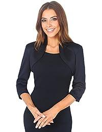 KRISP® Femmes Boléros Vestes Tailleurs Top Manches 3/4 Noeud Soirée Cérémonie