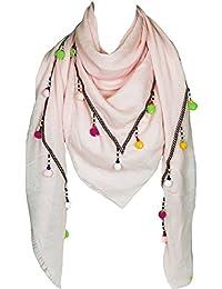 Mevina Schal Hippie Bommel Sommer Ibiza Style Fransen groß quadratisch Baumwolle Schal Halstuch Oversized