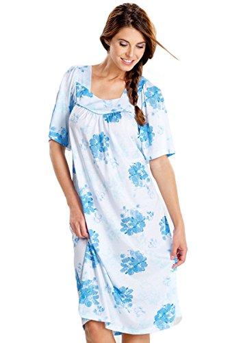Cybele Damen Nachthemd 800139 GR. 40 bis 54 Blau Bedruckt