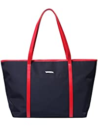 Let It Be Basic Large Travel Tote Shoulder Bag For Women - 20.4 Inch Top Length Laptop Tote Dark Blue + Red Strap