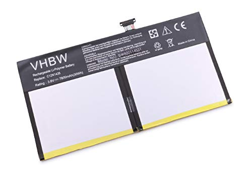 vhbw Li-Polymer Akku 7800mAh (3.8V) für Tablet Convertible wie Asus C12-N1435, C12N1435