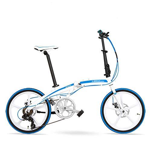 Yqihy Faltrad für Männer Frauen 20 Zoll Aluminium 7-Gang Shimano Zahnräder Scheibenbremse mit Thunderbolt,White