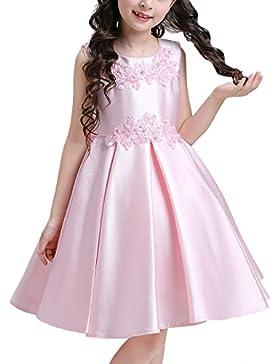 Doveark - Vestido Elegante con Encaje Lazo detrás sin Mangas de Niña para Boda Fiesta Cumpleaños