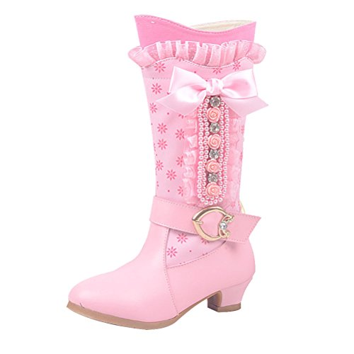 Zhhlinyuan Cute Kids Filles Bow Lace Low Heels Casual Shoes Princess High Boots 5667 pink