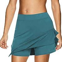 Fankle Women's Sport Skorts Performance Skirt Yoga Running Tennis Golf Workout Exercise Cheerleader Pants Elasticated Waist Breathable(Light blue,M)