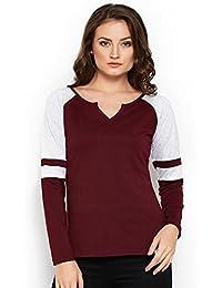 The Dry State Women's Cotton Burgundy Y Neck Raglan Stylish Full Sleeves Tshirt