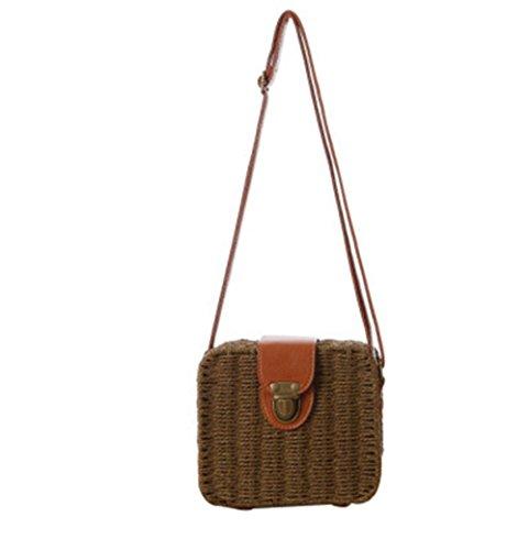 Sacchetto di paglia della borsa della traversa della borsa della caramella del pacchetto Piccolo quadrato della scatola Tote di tessitura di modo semplice della spiaggia , light brown dark brown