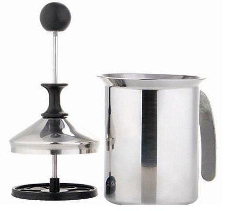 Milchaufschäumer 400ml – Milchschäumer – Edelstahlkanne mit Kunststoffaufsatz 200 ml