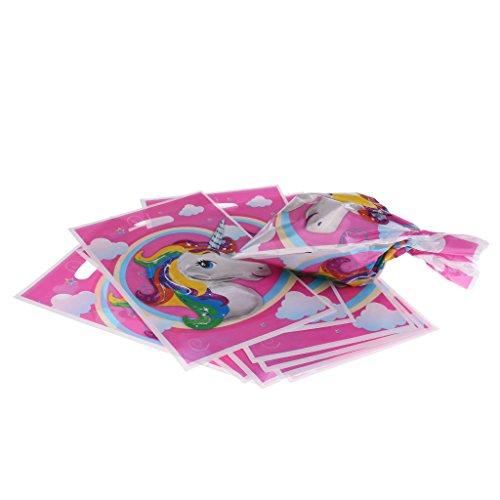 Decoración para fiesta de cumpleaños con diseño de unicornio de MagiDeal - Banderín, cajas para chuches y servicio de mesa, 10pcs Plastic Gift Bags, talla única