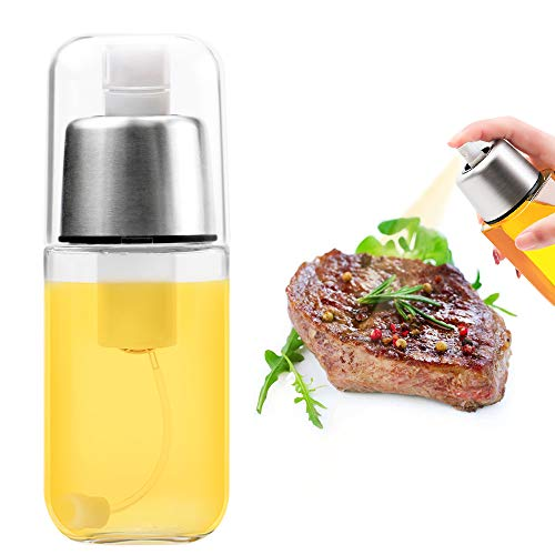 Renfox Dispensador de pulverizador de Aceite Premium 304 Acero Inoxidable para Asar a la Parrilla Botella de Vidrio de Aceite de Oliva 200 ML para cocinar/Ensalada/Hornear Pan/BBQ/Cocina