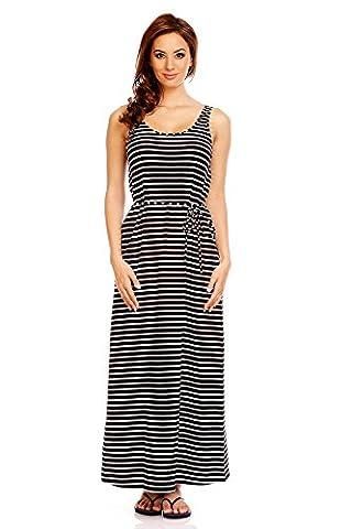 Mia Suri Women's Cotton Casual Striped Sleeveless Tank Maxi Dress Black/White Stripes Size 14