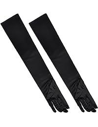 TRIXES - gants de coudes longs rétro noirs en soie