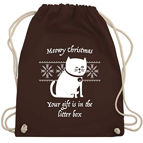ter - Meowy Christmas - Your gift is in the litterbox - Unisize - Braun - WM110 - Turnbeutel & Gym Bag ()