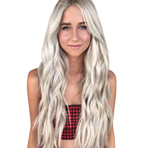 Elecenty ♬♬ Girl Gradient Natural Brown Party Perücke Lang Volles lockiges Haar Mode Synthetische Perücken Volle Wellenperücke