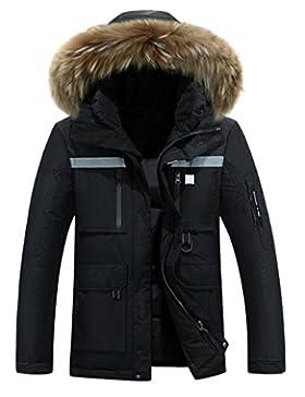 MHGAO Abajo Chaqueta de los hombres acolchado para mantener caliente la capa del invierno , black , m