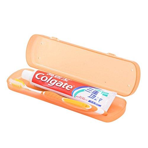 OUNONA Estuche Caja Funda de Cepillo de Dientes Pasta de Dientes de Viaje Portátil (Naranja)