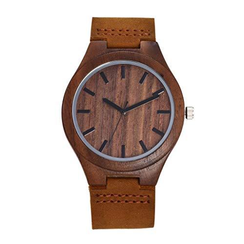 Zxy Hölzerne Quarzuhr, Klassische Mode Original Reine natürliche Walnuss umweltfreundliche und gesunde Uhr, Paar DYF (Color : Walnut)