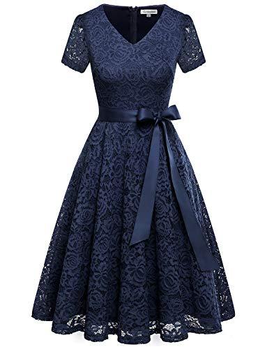 GardenWed Damen Elegant Kleider Spitzenkleid Knielang Rockabilly Kleid Cocktailkleid Abendkleider Navy S