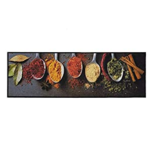 Bavaria Home Style Collection Küchenteppich Teppich Küche Küchen Teppiche Matte Läufer Küchendeko - 150 x 50 cm - Küchenläufer - 30 Verschiedene Motive - 30°C Waschbar - rutschfest Gewürze (Gewürze)