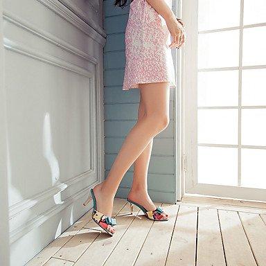LFNLYX Donna pantofole e flip-flops Comfort estivo in pelle di brevetto Party & abito da sera informale tacco gattino Bowknot giunto di separazione a piedi blu Blue