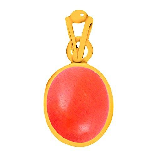 Clara Certified Coral Moonga 6.5 carat or 7.25ratti Panchdhatu Alloy Gold plating Astro Pendant for Men & Women
