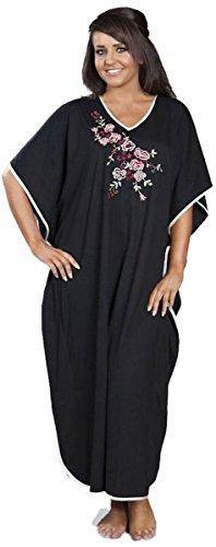 Damen Satin-Saum, Stickerei, Nachtwäsche lange Kaftan, Einheitsgröße, passend für die meisten 9985 (Kaftan Satin)