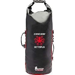 Cressi Octopus Dry Backpack Dos/Sac étanche Polyvalent Unisex-Adult, Noir/Rouge, 30 L