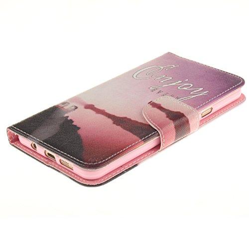 Custodia iPhone 6,Custodia iPhone 6S,Cover iPhone 6S,Leweiany Elegante Colorata Stampato Goccia di Pioggia Disegno Custodia Copertura di Vibrazione Portafoglio Luxury Wallet Custodia in pelle a Libro  Torre