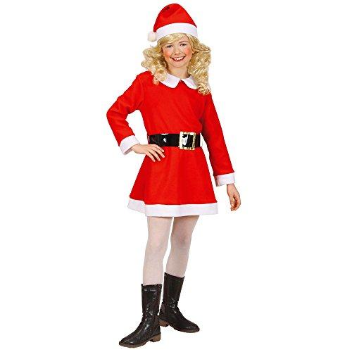 Widmann 14907 Kinderkostüm Weihnachtsfrau aus Flanell, Kleid, Gürtel und Hut (Santa Hüte Für Kinder)