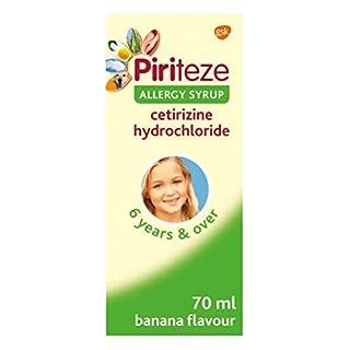 Piriteze Antihistamine Kids Allergy Relief Syrup, Cetirizine, Sugar Free, Banana Flavour, 70 ml
