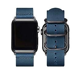 BesBand Retro Lederbänder Kompatibel mit Apple Watch Armband 42mm 44mm 38mm 40mm,Echtes Leder Vintage Armbänder Kompatibel für Männer Frauen iWatch Series5 Series4/3/2/1(42mm 44mm,Marineblau/Schwarz)