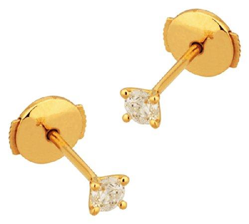 Orleo - REF6378BB : Boucles d'oreille Femme Or 18K jaune et Diamant - 0.10 carat