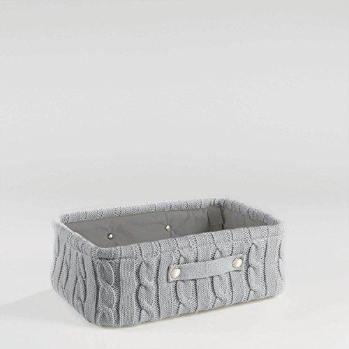 Aufbewahrungskorb Korb Strick 38x26x13 Grau, Rosa oder Weiss, Farbe:Grau