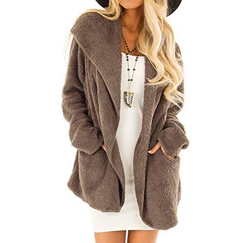 (FRAUIT Damen Plüsch Langarmhemd Sweatshirt Warm Fashion Tasche Langen Mantel halten)