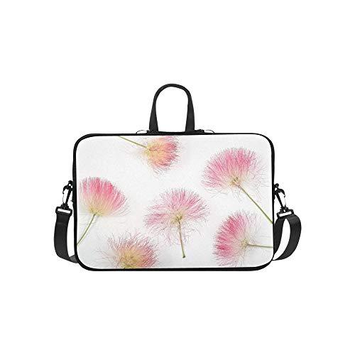 Schließen Sie Oben vom schönen Albizia-Blüten-Muster-Aktenkoffer-Laptop-Taschen-Bote-Schulter-Arbeitstasche Crossbody-Handtasche für das Geschäftsreisen - Akazie Grün