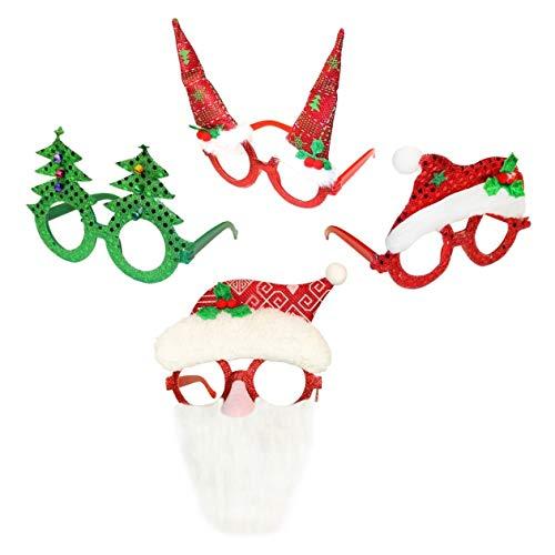 by Robelli Pack de 5 Nouveauté de Noël Verres ( Père Noël, Renne, Arbre, Bonnet du Père Noël, Chapeau de Lutin )