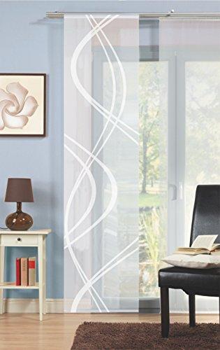 Voile-Schiebegardine Scherli, transparent, wollweiß, Größe BxH 60x245 cm